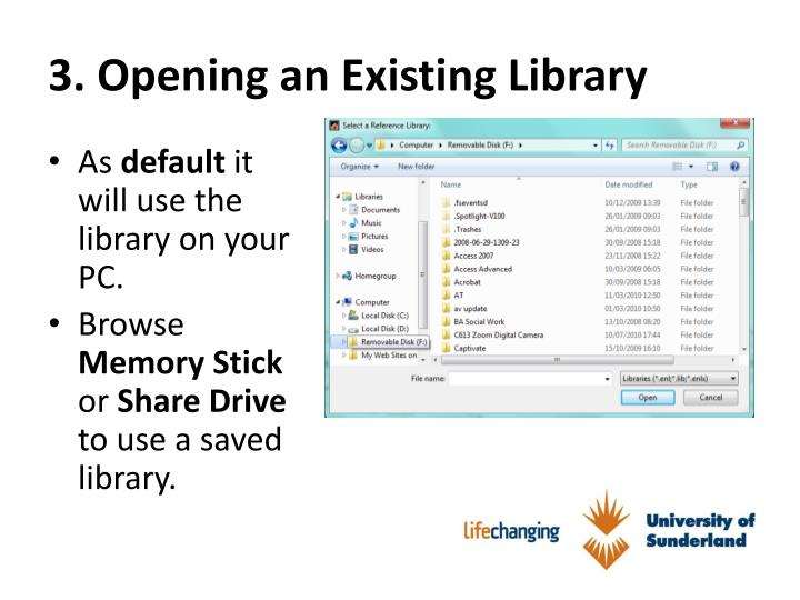 3. Opening an Existing Library