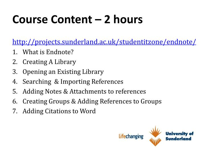 Course content 2 hours