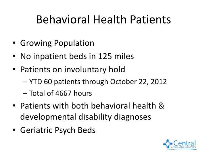 Behavioral Health Patients