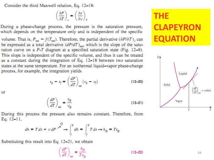 THE CLAPEYRON EQUATION