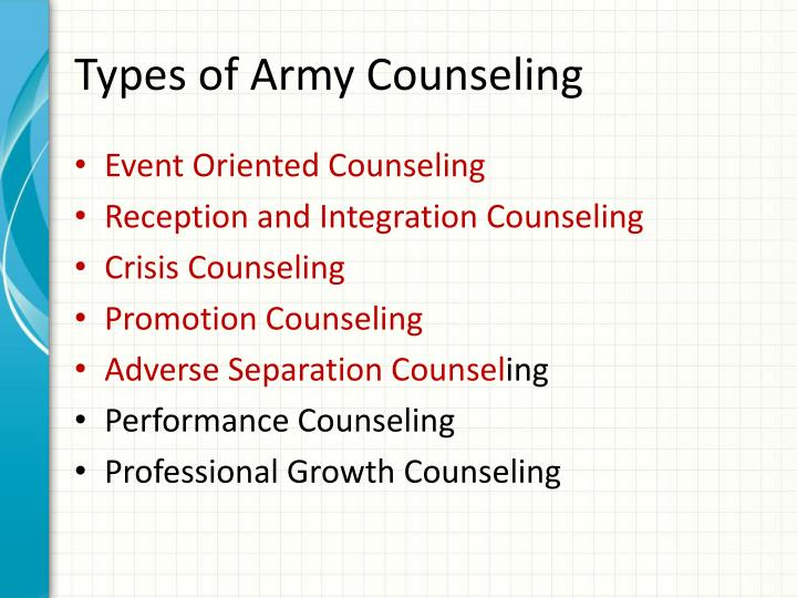Types of Army Counseling