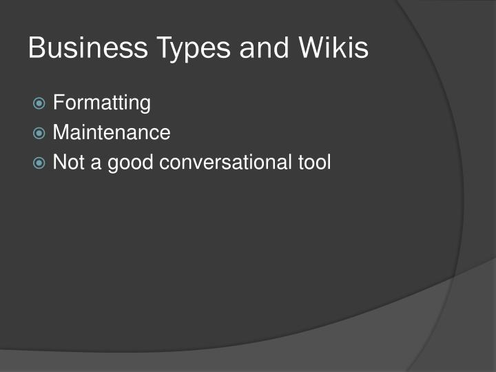 Business Types and Wikis