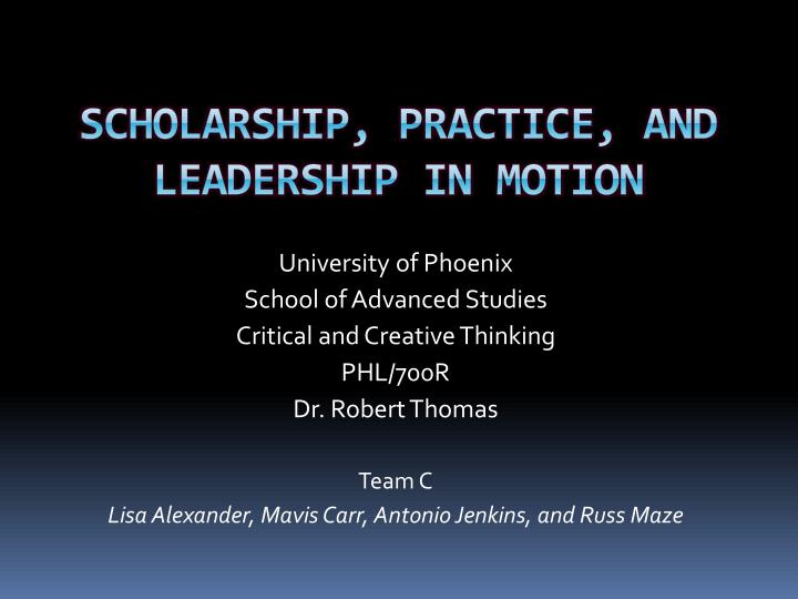 scholarship practice and leadership in motion n.