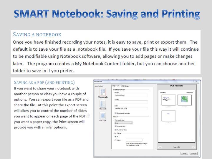 SMART Notebook: Saving and Printing