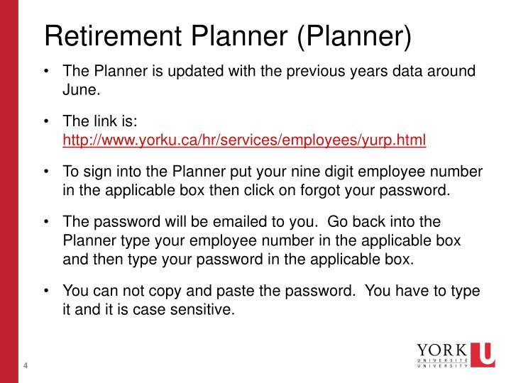 Retirement Planner (Planner)