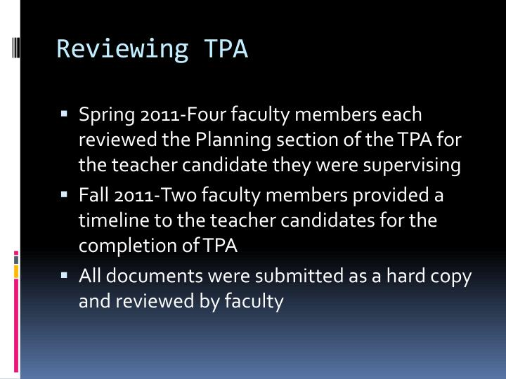 Reviewing TPA
