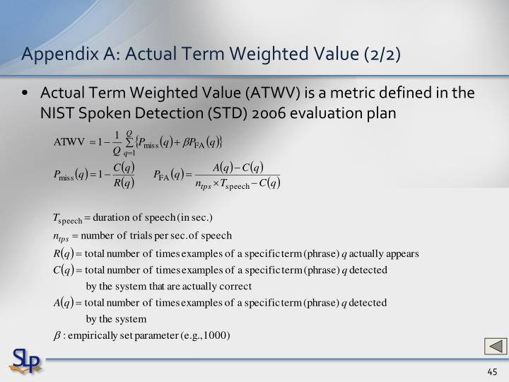 Appendix A: Actual Term Weighted Value (2/2)