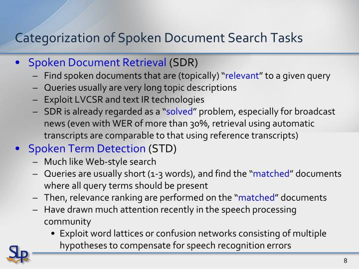 Categorization of Spoken Document Search Tasks
