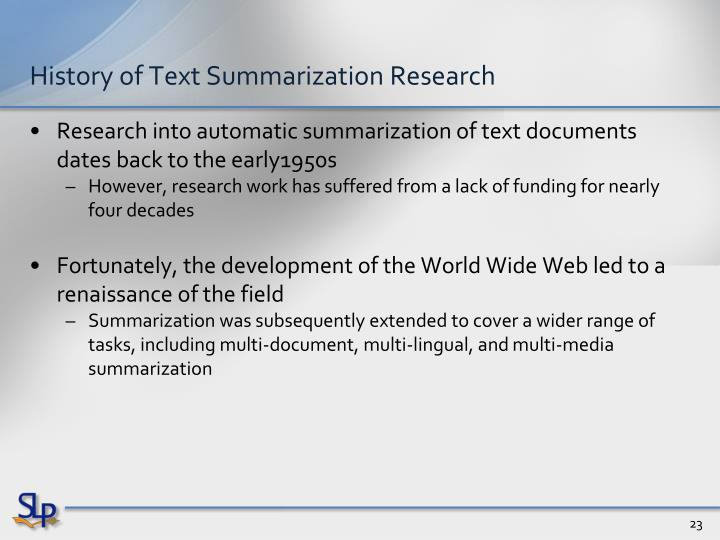 History of Text Summarization Research