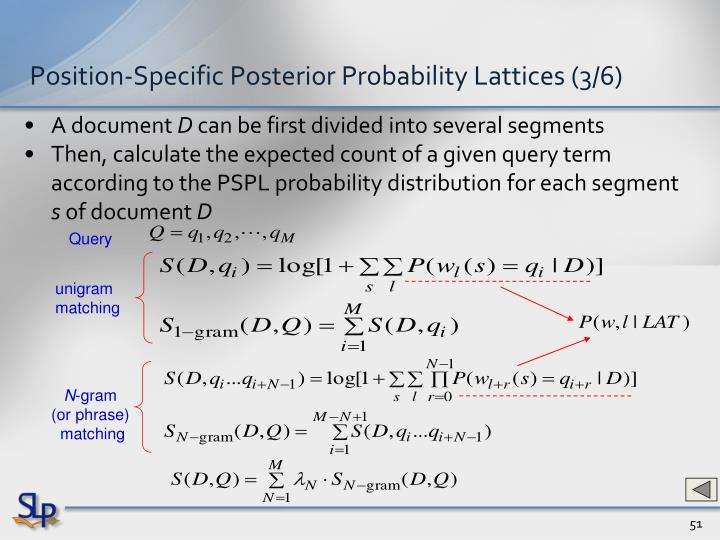Position-Specific Posterior Probability Lattices (3/6)
