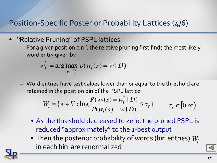 Position-Specific Posterior Probability Lattices (4/6)