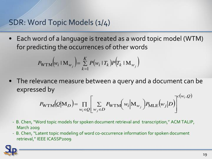 SDR: Word Topic Models (1/4)