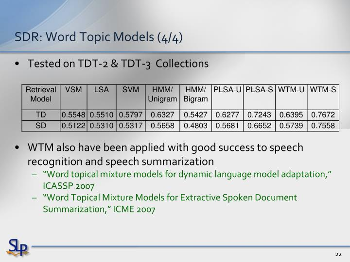 SDR: Word Topic Models (4/4)