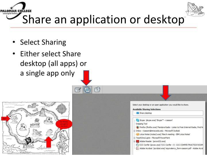 Share an application or desktop