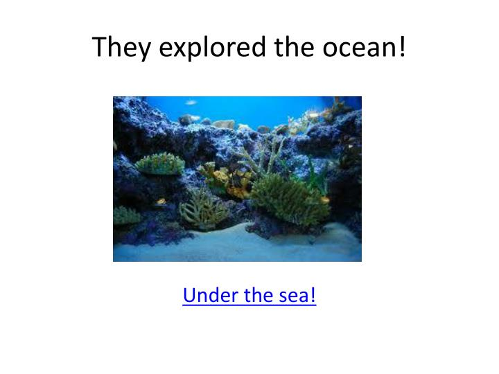 They explored the ocean!
