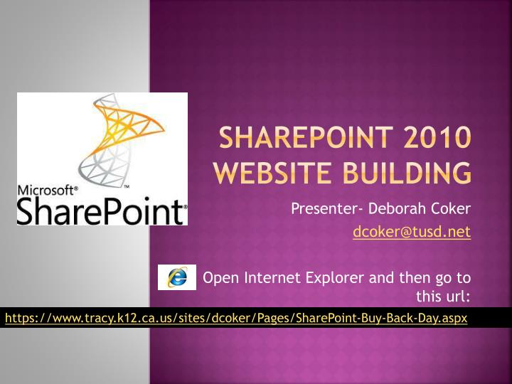 sharepoint 2010 website building n.