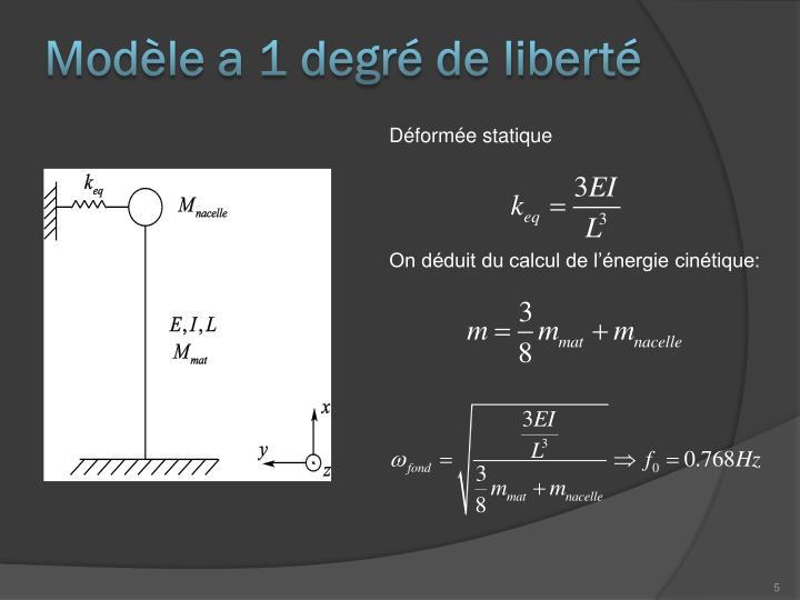 Modèle a 1 degré de liberté