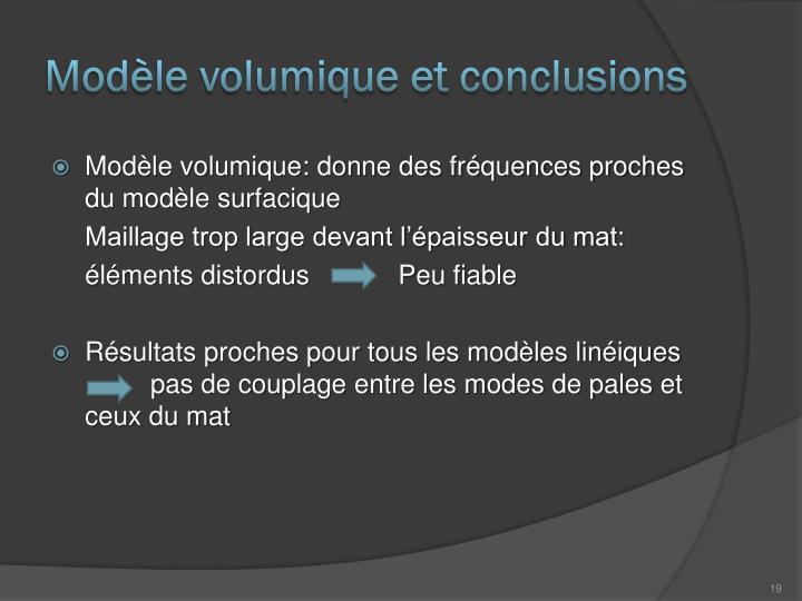 Modèle volumique et conclusions