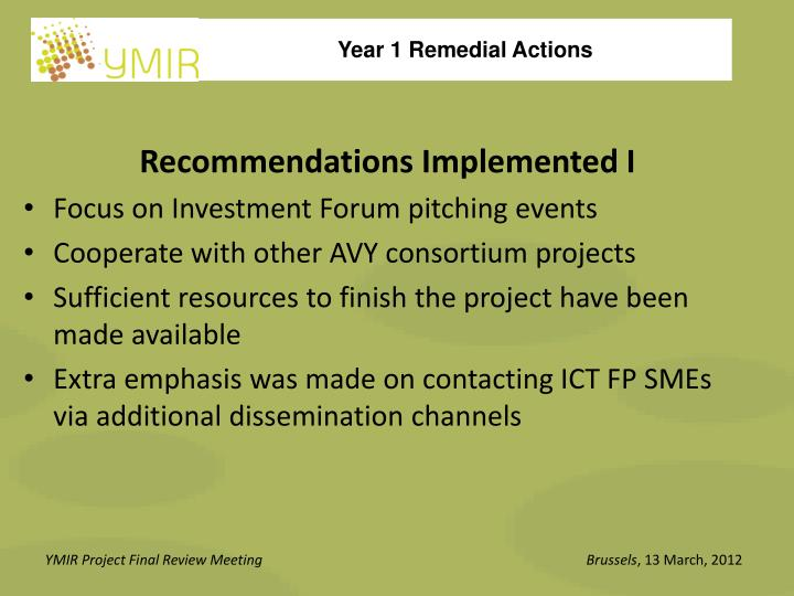 Recommendations Implemented I