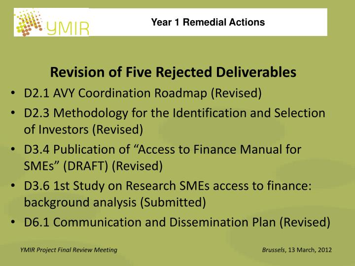 Revision of Five Rejected Deliverables