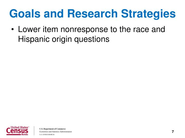 Goals and Research Strategies