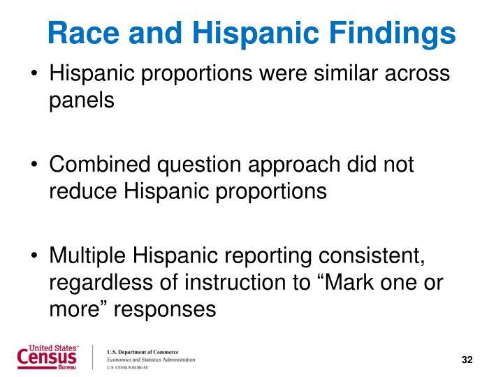 Race and Hispanic Findings