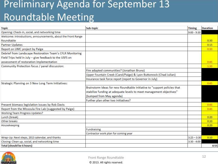 Preliminary Agenda for September 13 Roundtable Meeting