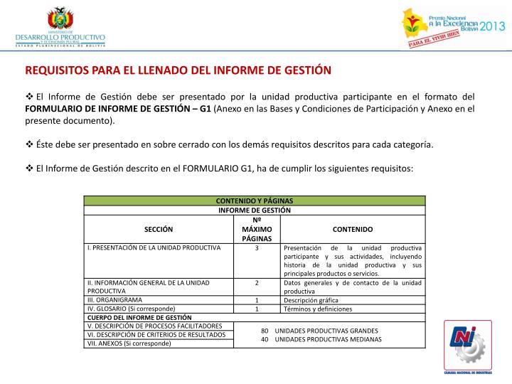 REQUISITOS PARA EL LLENADO DEL INFORME DE GESTIÓN