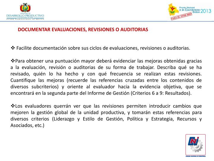 DOCUMENTAR EVALUACIONES, REVISIONES O AUDITORIAS