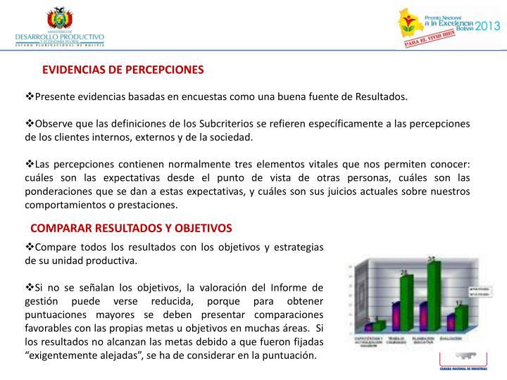 EVIDENCIAS DE PERCEPCIONES