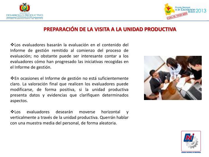 PREPARACIÓN DE LA VISITA A LA UNIDAD PRODUCTIVA