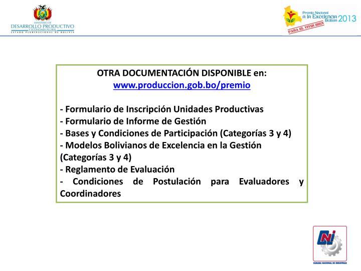 OTRA DOCUMENTACIÓN DISPONIBLE en: