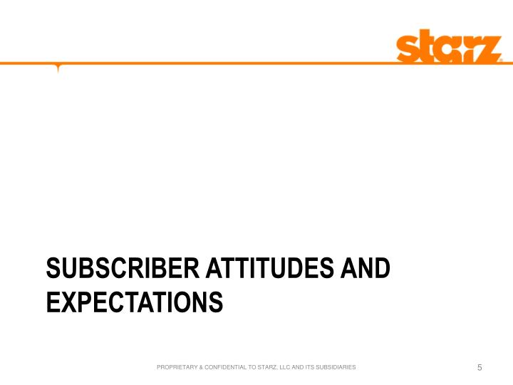 SUBSCRIBER ATTITUDES AND EXPECTATIONS