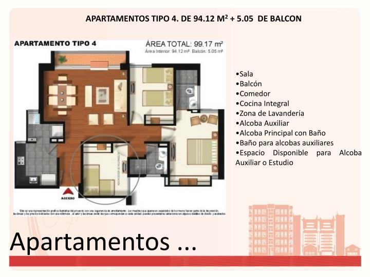 APARTAMENTOS TIPO 4. DE 94.12 M