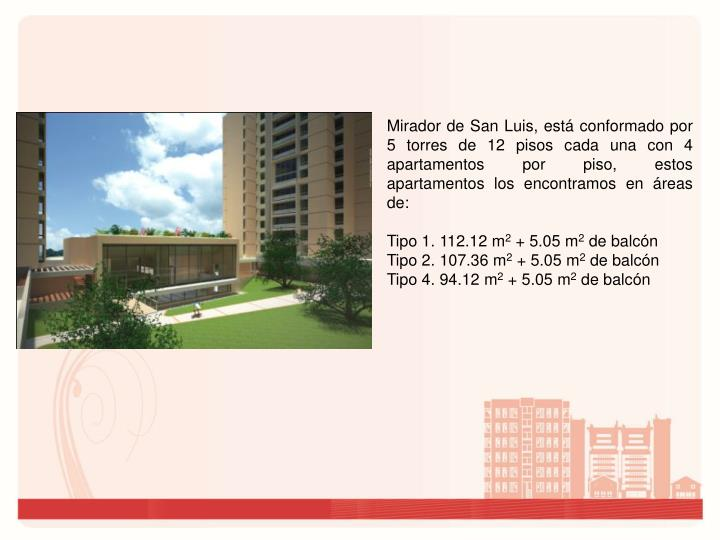 Mirador de San Luis, está conformado por 5 torres de 12 pisos cada una con 4 apartamentos por piso, estos apartamentos los encontramos en áreas de: