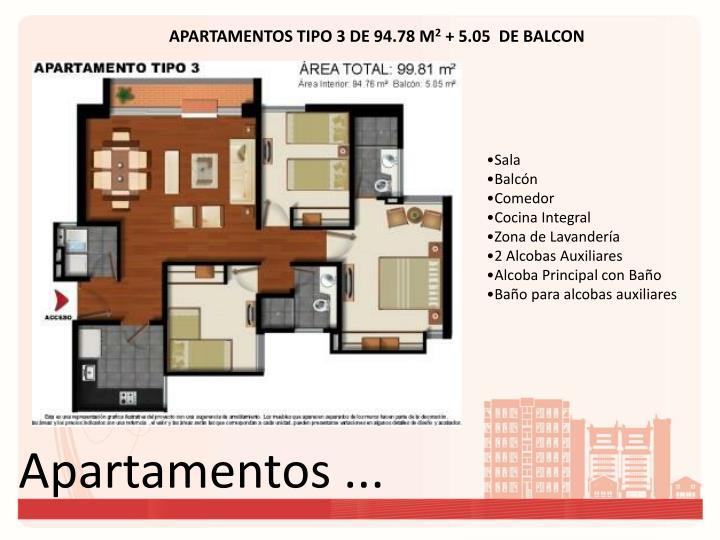 APARTAMENTOS TIPO 3 DE 94.78 M