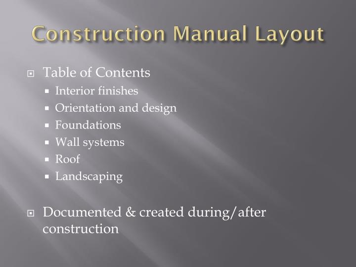 Construction Manual Layout