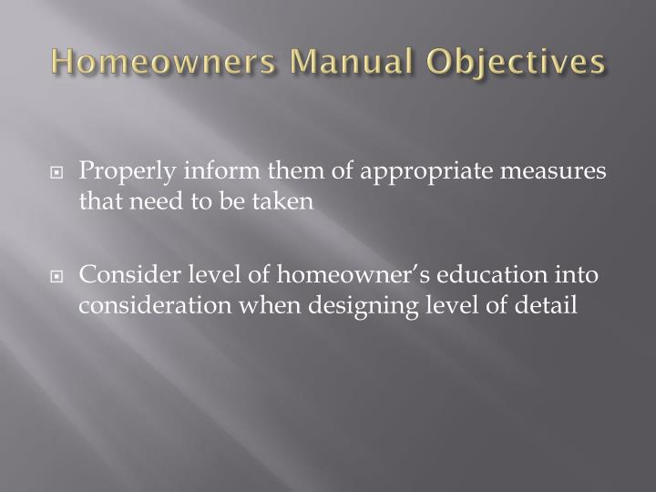 Homeowners Manual Objectives