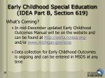 early childhood special education idea part b section 619