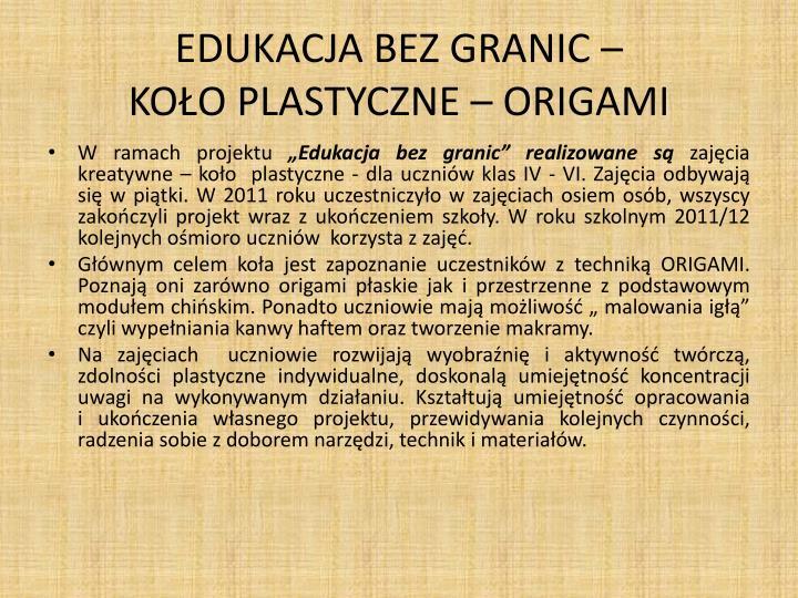 Edukacja bez granic ko o plastyczne origami