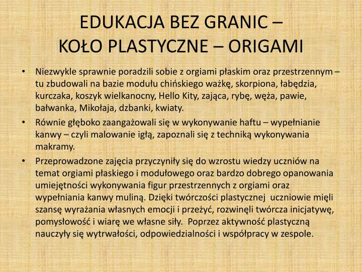 Edukacja bez granic ko o plastyczne origami1
