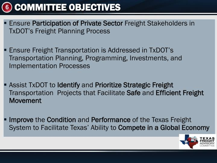 COMMITTEE OBJECTIVES