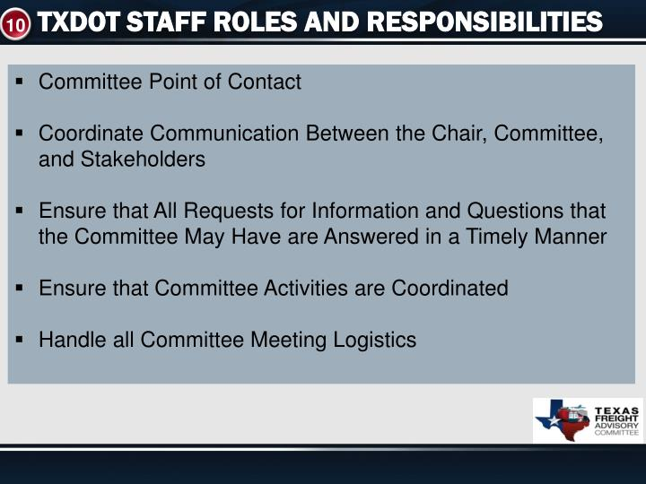 TXDOT STAFF ROLES AND RESPONSIBILITIES