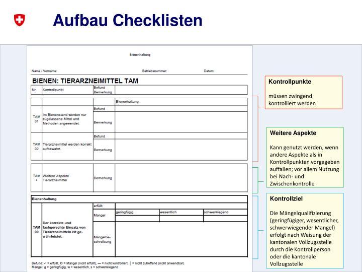 Aufbau Checklisten