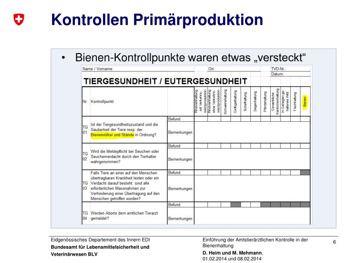 Kontrollen Primärproduktion