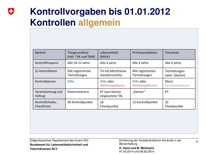 Kontrollvorgaben bis 01 01 2012 kontrollen allgemein