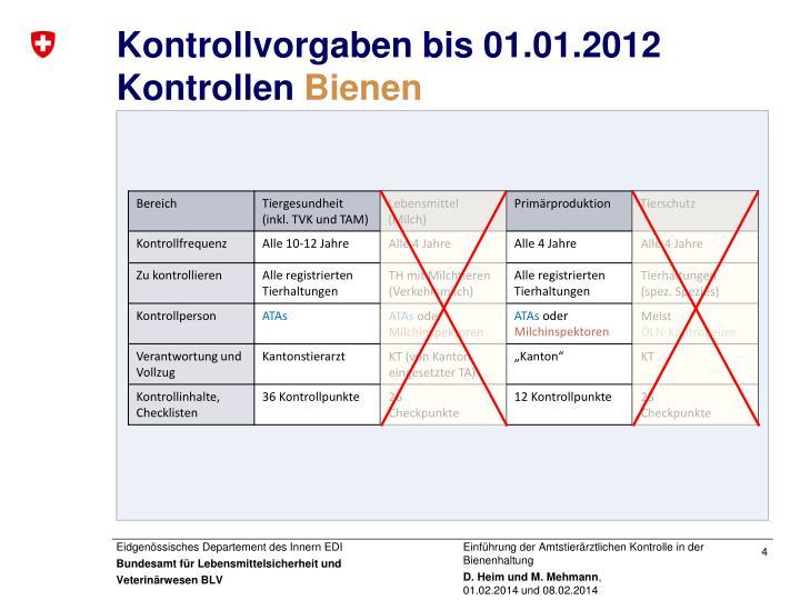 Kontrollvorgaben bis 01.01.2012