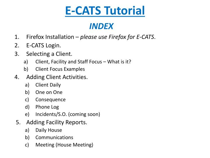 E cats tutorial