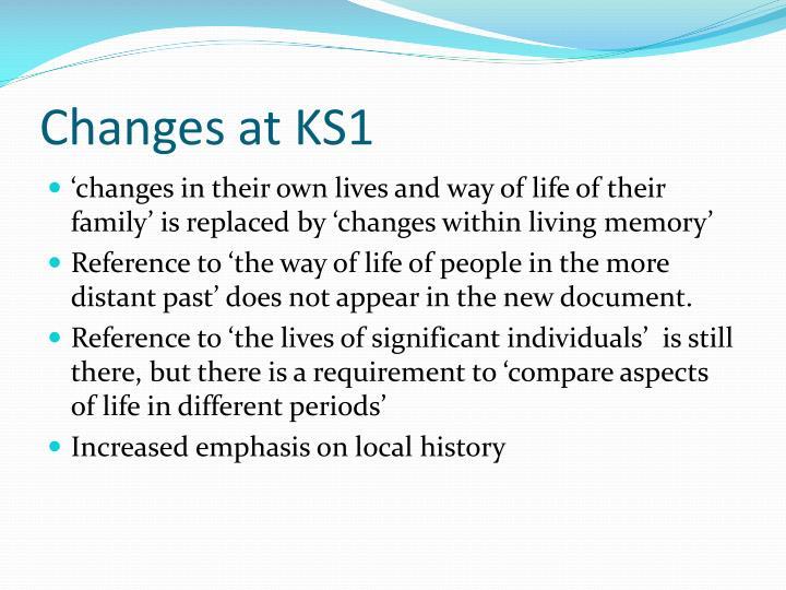 Changes at KS1