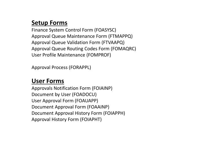 Setup Forms